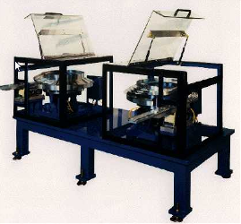 "Two 18"" Feeder Bowls with two 30"" inline tracks, sound enclosure, control and base .. table"